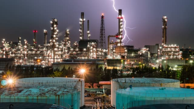 Petrochemical oil refinery plant,Time lapse
