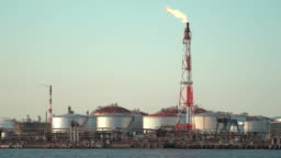 Petrochemical plant oil refinery with gas flare
