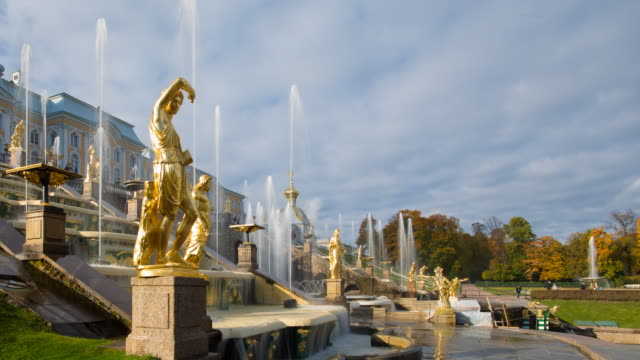 Petrodvorets (Peterhof) (Summer Palace), near St. Petersburg, Russia, Europe - Time lapse