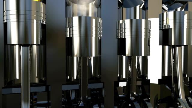 3D petrol or diesel engine work inside view. hd1080