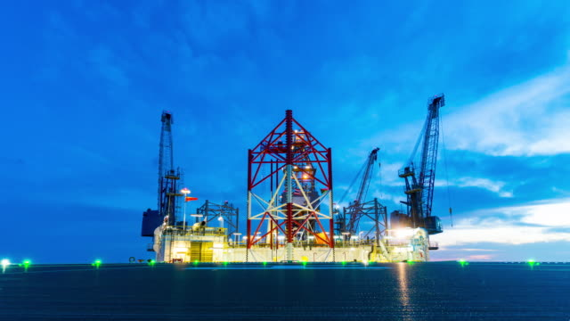 petroleum offshore drilling platform with helicopter deck