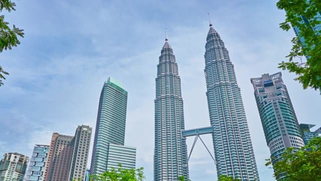 petronas towers and tree - malaysian culture stock videos and b-roll footage