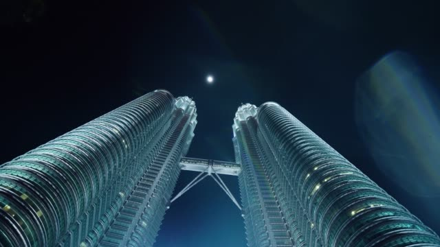 Petronas Twin Towers and the Moon at Night