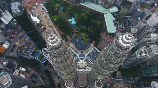 Petronas twin towers view from drone