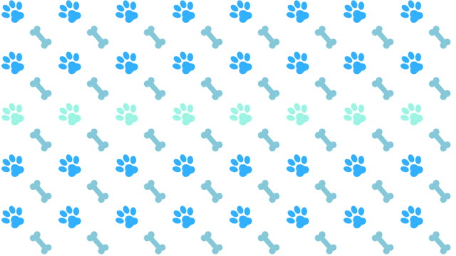 Pets Pattern Scrolling Background With Colored Paws And Bones