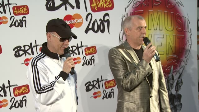 petshop boys on being happy that the music business has awarded the lifetime achievement award and surprised that they got it over a more 'rocky' act... - petshop stock videos and b-roll footage