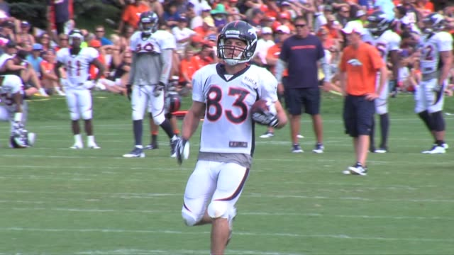 Peyton Manning and Wes Welker among featured shots from Denver Broncos training camp on August 1 2013 Manning and Welker at Broncos training camp at...