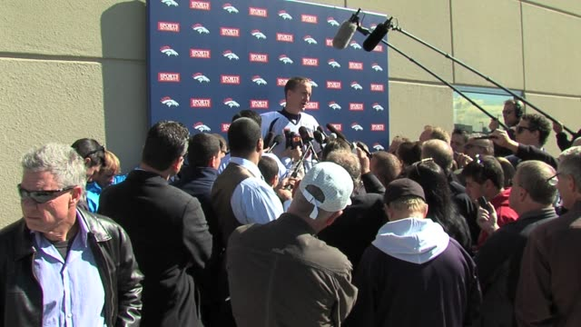 Peyton Manning faced the biggest media entourage since he came to Denver for the Colts game being swarmed by reporters from Denver and Indianapolis...
