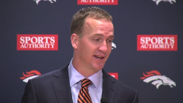 Peyton Manning of the Denver Broncos at the postgame press conference after throwing seven touchdown passes against Baltimore cracked about the...