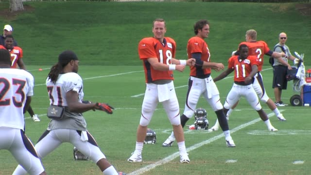 Peyton Manning of the Denver Broncos warming up and practicing for the first game of season against the Baltimore Ravens Thursday night Peyton...