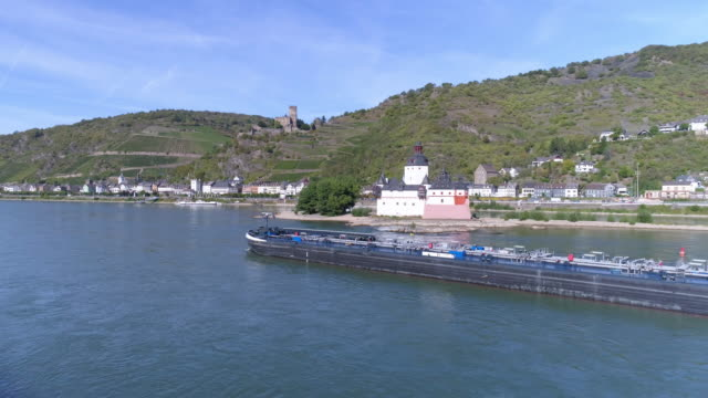 pfalzgrafenstein castle and kaub town in the upper middle rhine valley - river rhine stock videos & royalty-free footage