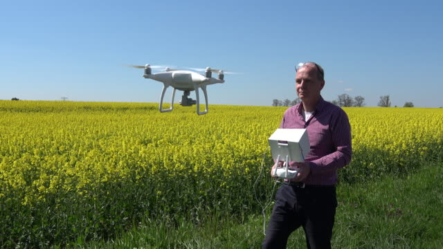 DJI Phantom 4 Quadcopter flies above a field
