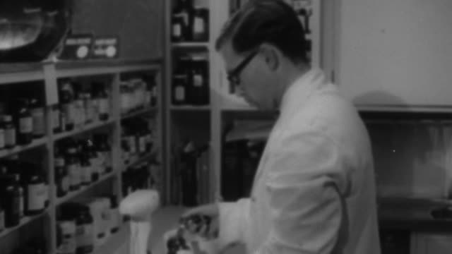 1955 MONTAGE Pharmacist mixing medicine / United Kingdom