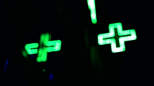 pharmacy store, green neon - cross stock videos & royalty-free footage