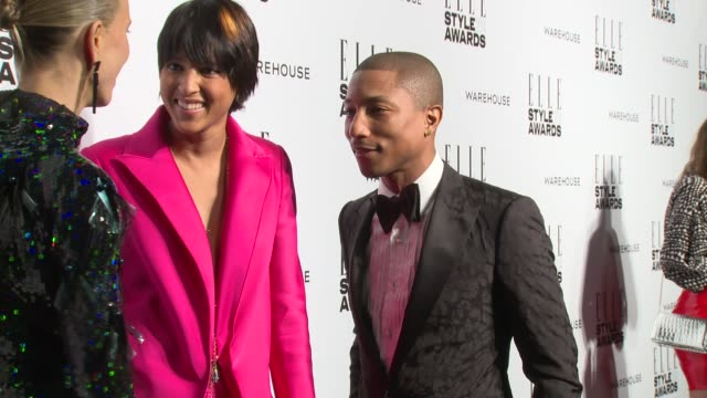 pharrell williams and helen lasichanh at elle style awards arrivals at one embankment on february 18 2014 in london england - embankment stock videos and b-roll footage