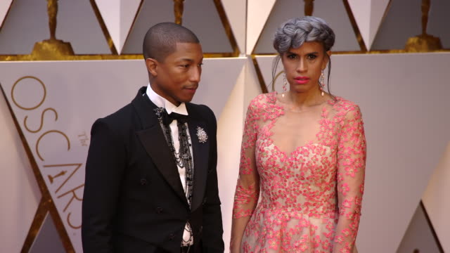 pharrell williams and mimi valdes at 89th annual academy awards - arrivals at hollywood & highland center on february 26, 2017 in hollywood,... - hollywood and highland center stock videos & royalty-free footage