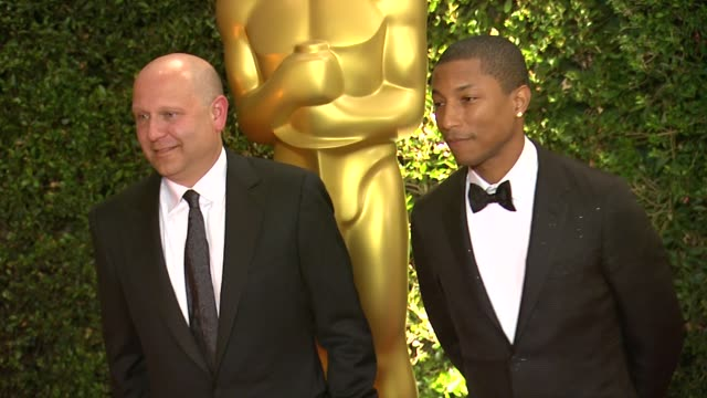 pharrell williams at academy of motion picture arts and sciences' governors awards in hollywood ca on - academy of motion picture arts and sciences stock videos & royalty-free footage