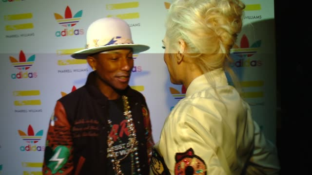 pharrell williams gwen stefani at pharrell williams and adidas celebrate collaboration in los angeles ca - conceptual symbol stock videos and b-roll footage