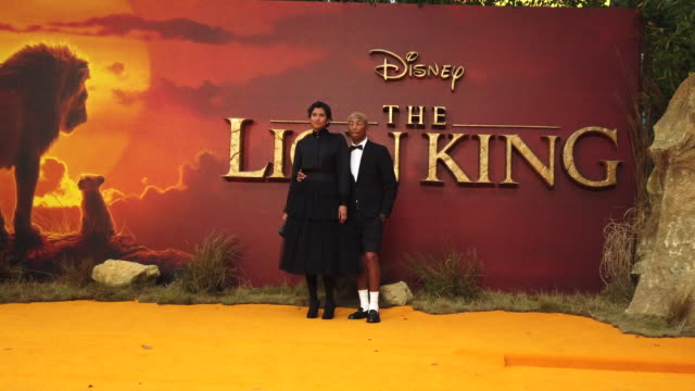 pharrell williams helen lasichanh at the lion king uk premiere on july 14 2019 in london greater london - beyoncé knowles stock videos & royalty-free footage