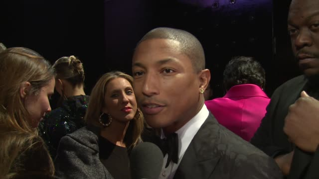 interview pharrell williams on the uk at elle style awards arrivals at one embankment on february 18 2014 in london england - embankment stock videos and b-roll footage