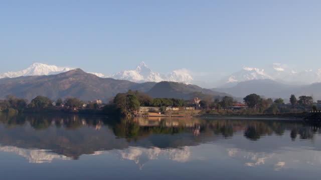 phewa lake, pokhara, nepal - annapurna range stock videos and b-roll footage