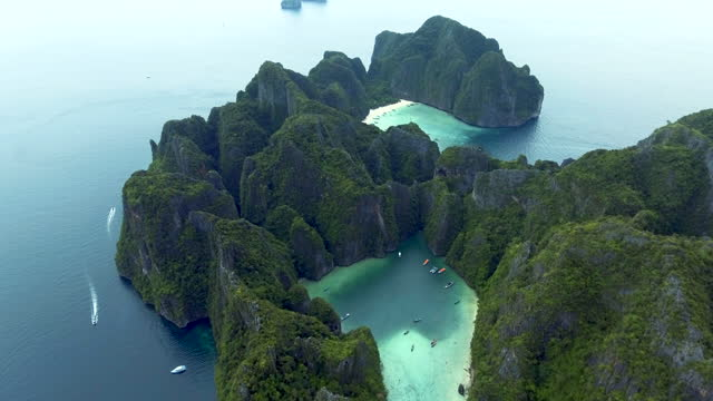 phi phi leh phuket thailand aerial view - phi phi islands stock videos & royalty-free footage