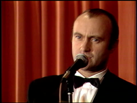 phil collins at the 1989 golden globe awards at the beverly hilton in beverly hills, california on january 28, 1989. - phil collins stock videos & royalty-free footage