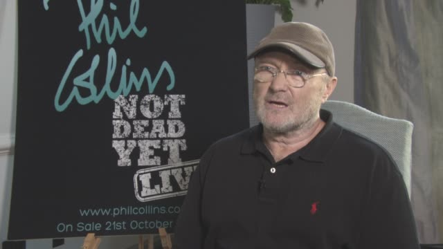 vídeos de stock, filmes e b-roll de phil collins on working with adele, pharrell williams, being himself at phil collins not dead yet live on october 17, 2016 in london, england. - phil collins