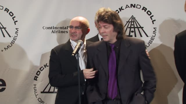 phil collins, tony banks, steve hackett and mike rutherford of genesis on doing studio albums. at the 25th annual rock and roll hall of fame... - mike rutherford stock videos & royalty-free footage