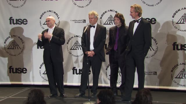 phil collins tony banks steve hackett and mike rutherford of genesis on there being more of a variety this year in inductees at the 25th annual rock... - phil collins stock videos & royalty-free footage