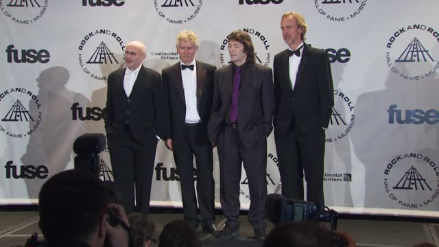 phil collins tony banks steve hackett and mike rutherford of genesis at the 25th annual rock and roll hall of fame induction ceremony press room at... - phil collins stock videos & royalty-free footage