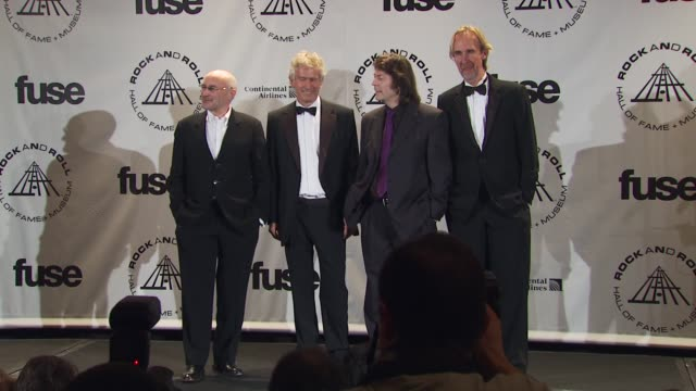 phil collins, tony banks, steve hackett and mike rutherford of genesis at the 25th annual rock and roll hall of fame induction ceremony - press room... - mike rutherford stock videos & royalty-free footage