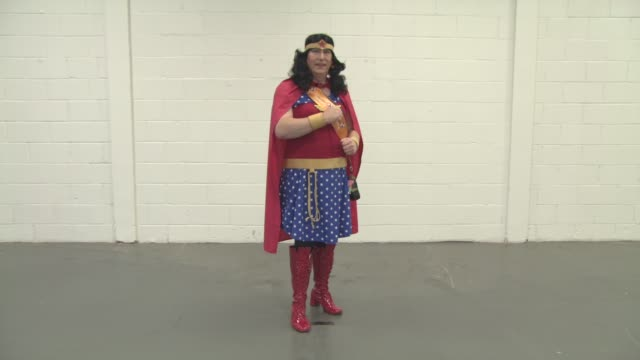 phil grant dressed as superwoman at london film comic con on july 29 2016 in london england - superwoman stock videos and b-roll footage