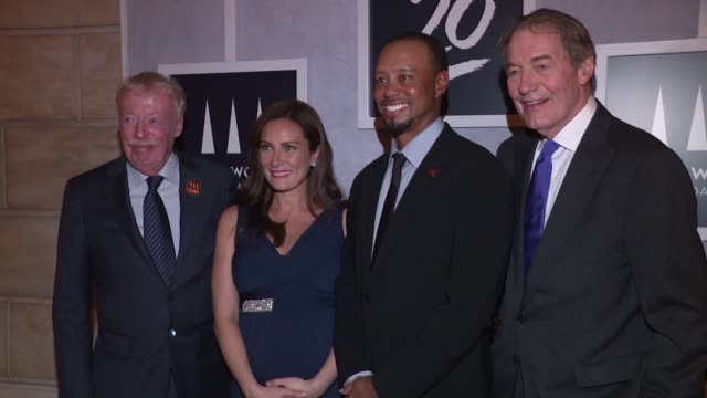 phil knight laura benanti tiger woods and charlie rose at tiger woods foundation event at new york public library on october 20 2016 in new york city - laura benanti stock videos and b-roll footage