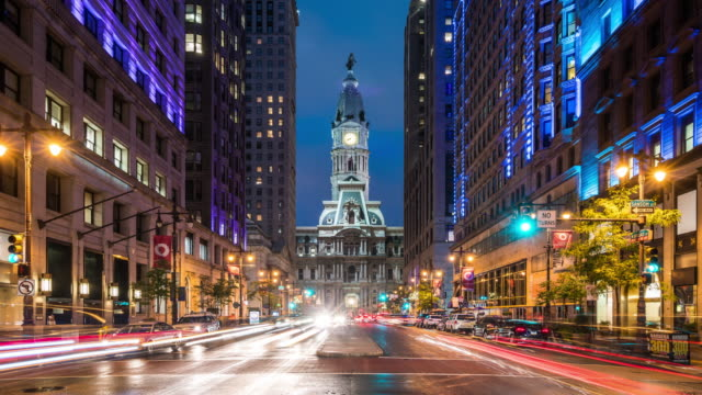 t/l ws zo philadelphia city hall and busy traffic at dusk / philadelphia, usa - philadelphia pennsylvania stock videos & royalty-free footage