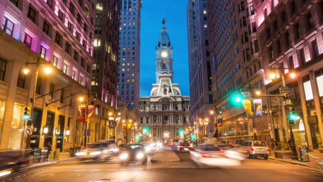 philadelphia city hall at twilight - traffic time lapse stock videos & royalty-free footage