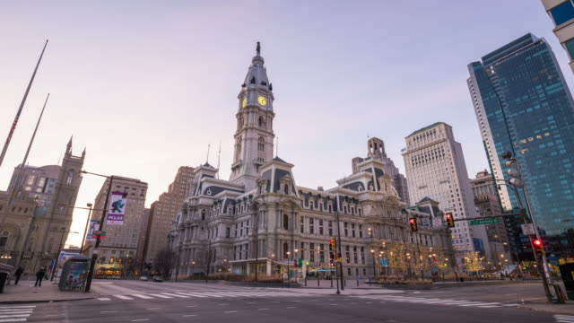 philadelphia city hall at twilight - philadelphia pennsylvania stock videos & royalty-free footage