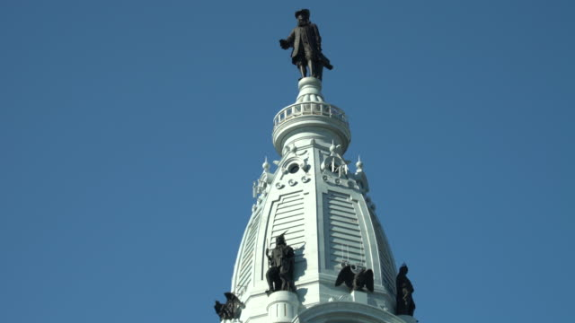 philadelphia city hall clock tower - philadelphia, pa - william penn stock videos & royalty-free footage