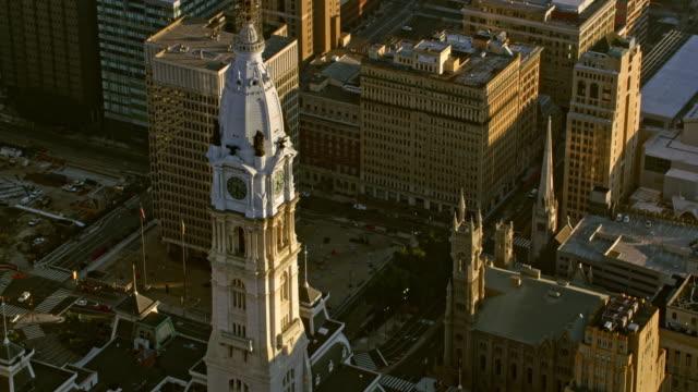 AERIAL Philadelphia City Hall in sunshine