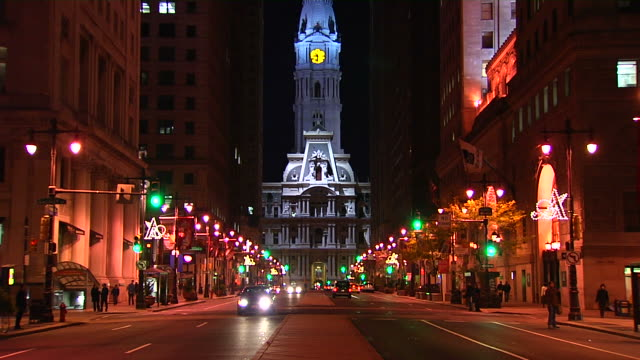 philadelphia city hall night tiltup_1 (1080/24p) - center city philadelphia stock videos and b-roll footage