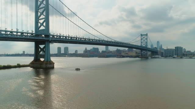 フィラデルフィア・ダウンタウンベンジャミン・フランクリン橋とデラウェア川の遠隔ビュー。パノラマカメラの動きを持つ空中ドローンビデオ。 - ベンフランクリン橋点の映像素材/bロール