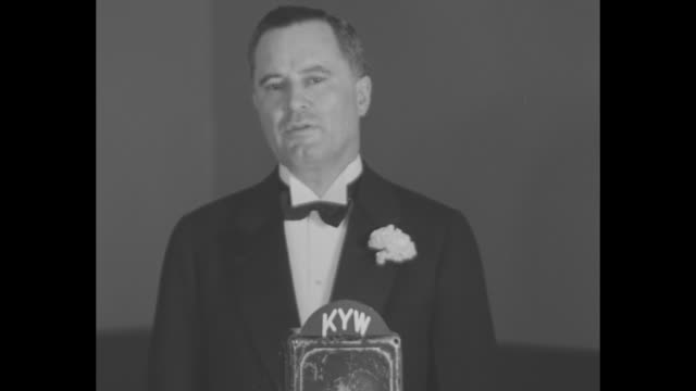 philadelphia mayor moore speaking / man behind microphone congratulating westinghouse and levy brothers and saying station will continue presenting... - radio broadcasting stock videos & royalty-free footage