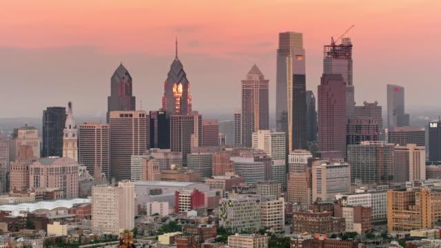 AERIAL Philadelphia, PA in early morning light