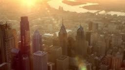 AERIAL Philadelphia, PA lit by rising sun