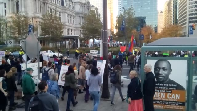 philadelphia pa video of a donald trump protest march at thomas paine plaza in philadelphia - us republican party 2016 presidential candidate stock videos & royalty-free footage