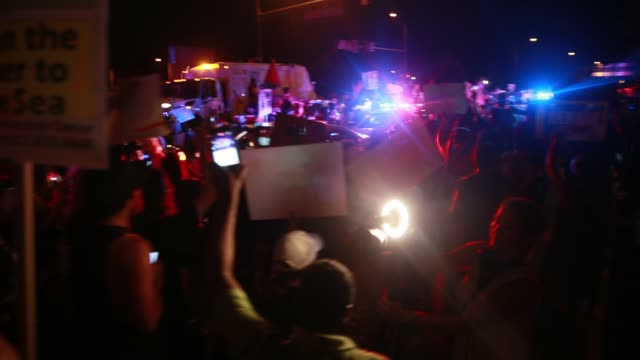 07262016 Philadelphia Pennsylvania USA Bernie or Bust protesters surround police cars while protesting after roll call on the second day of the...
