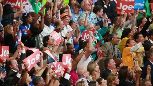 07272016 philadelphia pennsylvania usa during joe biden's speech the crowd chants not a clue not a clue after he slammed donald trump during the... - philadelphia pennsylvania stock videos & royalty-free footage