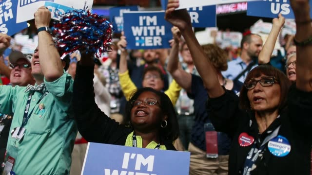 07262016 Philadelphia Pennsylvania USA Hillary Clinton supporters cheer as delegates cast their votes during roll call on the second day of the...