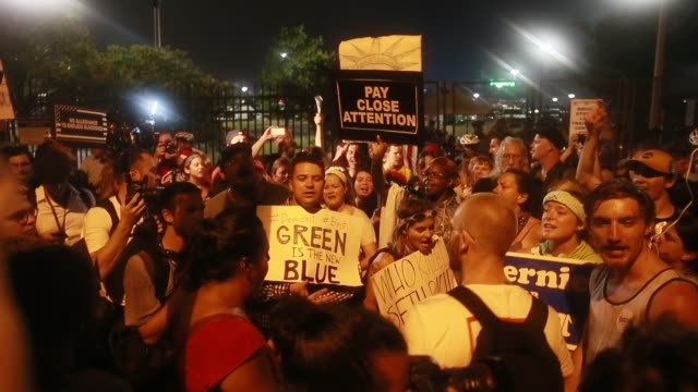 07282016 philadelphia pennsylvania usa protesters chant as hillary clinton accepts the democratic party nomination for president on the final day of... - democratic party usa stock videos and b-roll footage