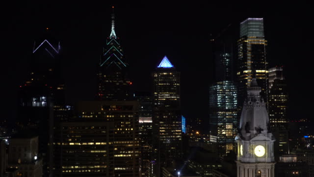 philadelphia skyscrapers at night - center city philadelphia stock videos and b-roll footage
